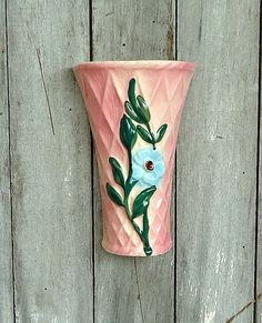 Vintage Wall Pocket Vase Pink Floral Ceramic . . my mom had two of these