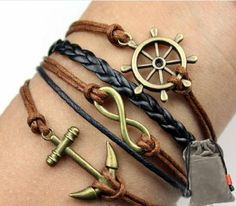 Vintage Nautical Rudder Anchor Bracelet Infinity Handmade Coffee Leather Rope: Everything Else