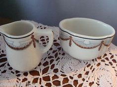 VINTAGE RESTAURANT WARE CREAMER SUGAR - SWAG AND TRELLIS PATTERN