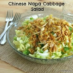 Chinese Napa Cabbage Salad with a crunchy noodle and nut topping | Dinner-Mom.com