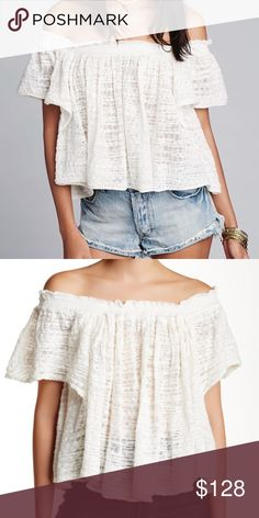 "Free People thrills and frills sweater An off-shoulder design elongates your neck and torso in the see-through Thrills & Frills Sweater. - Off-the-shoulder neck - Short sleeves - Approx. 16"" length - 🚫No trades. Free People Tops"