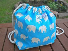Toddler Backpack Lunch Bag  Blue Elephants by piggledee on Etsy, $19.00