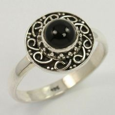 Handcrafted Ring Size US 8.75 Natural BLACK ONYX Gemstone 925 Sterling Silver #Unbranded