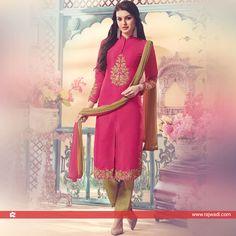 Stone Work Front Slit Cut Churidar Suit by Shagufta... #rajwadi #readytowear #suit #shagufta #partywear #churidarsuitonline #designersuits #casualwear