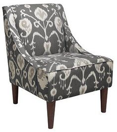 Quinn Swoop-Arm Chair, Gray Ikat on shopstyle.com