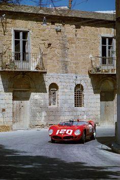 1962 ..Targa Florio , entered by SEFAC Ferrari , Ferrari Dino 196 SP , driven by Baghetti / Bandini , finished 2nd o/a , 1st in P3 class.