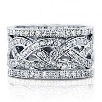 Cubic Zirconia CZ 925 Sterling Silver Woven Stackable Ring Set