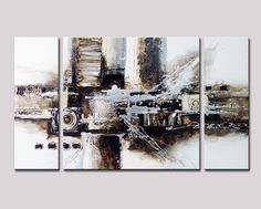 Amazon.com: Noah Art-Black and White Abstract Art, 100% Hand Painted Abstract Oil Paintings on Canvas, Large 3 Panel Framed Modern Abstract Wall Art for Living Room Home Decor, 24 Inches Height x 48 Inches Width: Paintings