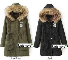 Parca con capucha de pelo 45€, S-XXXL, en color verde militar y negro