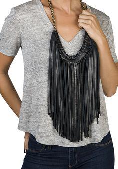 Black fringe necklace www.shellybrown.com