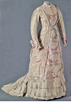 Circa 1880-1885 silk and cotton dress. Via Mode Museum; FULL-SIZED BUT WOULD BE STUNNING AS A DOLL DRESS.
