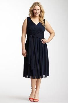 I like the layers on the skirt and it gives her some shape. |  Eliza J Sleeveless Tucked Bodice & Waist Dress with Scarf