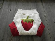 Upcycled Wool Soaker Cover Diaper Cover With Added Doubler White/Red With Strawberry Applique  MEDIUM 6-12M Kidsgogreen. $18.50, via Etsy.