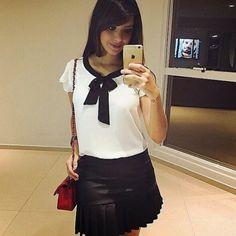 camisa-branca-blusa-gola-laço-preta-looks-onde-comprar