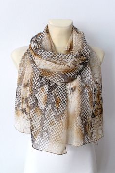 Snake Skin Printed Silk Scarf - Brown Animal Print Scarf - Women Fashion Shawl - Unique Fabric Scarf - Original Woodland Scarf -Gift for her by LocoTrends on Etsy https://www.etsy.com/listing/186524803/snake-skin-printed-silk-scarf-brown
