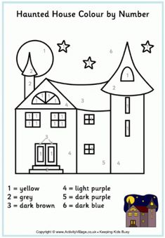Haunted House Colouring Page Halloween Pages