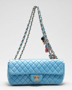 Chanel in baby blue, Valentine charms included.