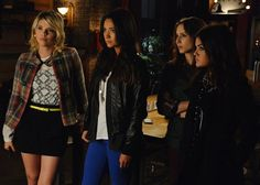 Emily's blue pants are great, but Hanna's mixed textures are even better.