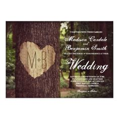 Carved Heart Rustic Tree  Farm Country Woods Custom Initial Monogram Wedding Invitations Announcements  #wedding #romantic #invitations #heart #tree #woods #rustic