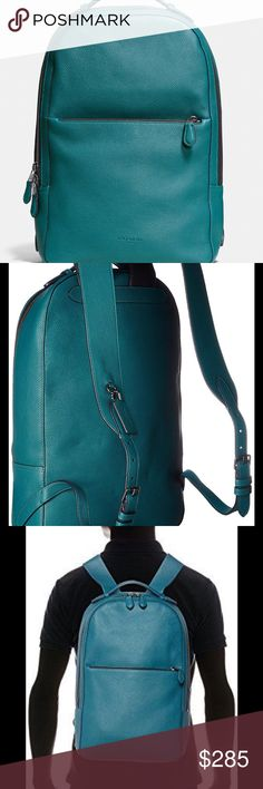 """NWT🌟COACH METROPOLITAN Soft Backpack Optimum function meets streamlined style on this new Coach backpack. Crafted in """"Atlantic Blue"""" refined pebble leather, it sports a modern slim profile with dedicated space for a laptop, additional pockets for essentials inside and adjustable straps for comfort. * Refined pebble leather * Inside zip and multifunction pockets * Zip closure, fabric lining * Adjustable leather straps * Outside zip pocket * Separate snap compartment fits a 13"""" laptop * 9…"""