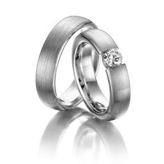 Wedding rings 123gold MyStyle, White gold 585/- Width: 5.00 - Height: 3.220 - Stones: 1 brilliant cut diamond 0.33 ct. tw, si (Ring 1 with stone, Ring 2 without). All wedding rings can be configured to your exact specifications.