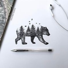 Beautiful Bear/Forest Tattoo Idea Artist- Alfred Basha I love this but with a be… Wunderschöner Bär / Wald Tattoo Idea Artist – Alfred Basha Ich liebe dies aber mit einer Strandszene Natur Tattoos, Kunst Tattoos, Tattoo Drawings, Pen Drawings, Xoil Tattoos, Tattos, Tumbler Drawings, Men Tattoos, Cute Tattoos