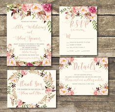 Rose Gold Printable Wedding Invitation Rose Gold / Blush
