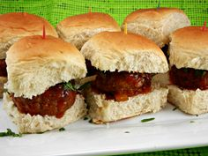 The Tasty Fork - Slow Cooker Meatball Sliders with Peach Chipotle BBQ Sauce #easy #recipe #crockpot