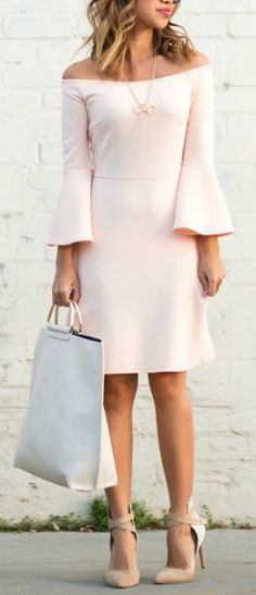 Bell sleeves + blush.