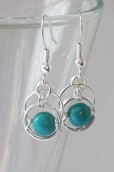 Silver Chainmaille Earrings. Turquise. by DeChampDesigns on Etsy, $9.00
