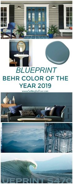 Behr's just announced their color of the year 2019 and it's a gorgeous blue color! See how Blueprint paint color by Behr looks in real spaces and homes. It's a beautiful, livable denim blue color perfect for walls and furniture! #blueprint #paint #color #decor #design #trends #blue