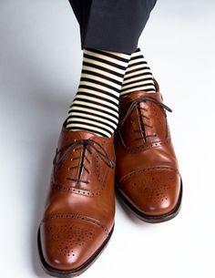 Dapper Classics Navy and Yellow Repeating Stripe Sock