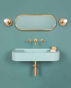 Cheap Home Decor 9 Colorful Bathroom Sink Ideas That Put Traditional White Basins to Shame Bathroom Red, Bathroom Colors, Modern Bathroom, Colorful Bathroom, Bathroom Ideas, Bathroom Sinks, Small Bathrooms, Pastel Bathroom, Mermaid Bathroom