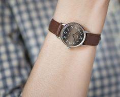 Faded face women's watch Zarja round watch minimalist wristwatch lady watch premium leather strap new on Etsy, $64.00