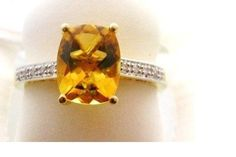 2 Ct. Cushion Cut Natural Citrine & Diamond Accent Ring 14k NEW #IWI