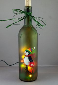 Lighted Wine Bottle Hand Painted Penguin Ice Bucket Seasonal Christmas Decoration Frosted Glass Night Light Accent Lamp Scarf Stocking Cap