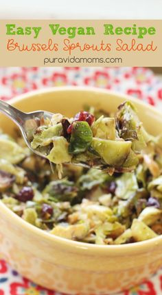 Simple vegan recipe for Brussels sprout salad- with an antioxidant dressing and protein-packed nuts. Great salad for a crowd, or keeps in the fridge too!