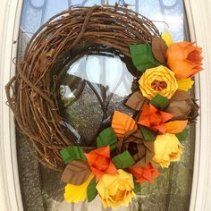 15 Autumn Origami Flower Wreath  Fall by CaitJaneCreations on Etsy