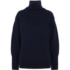 Victoria, Victoria Beckham Oversized ribbed wool turtleneck sweater (£445) ❤ liked on Polyvore featuring tops, sweaters, navy, polka dot sweaters, slouchy sweaters, navy sweater, turtleneck sweater and wool sweaters