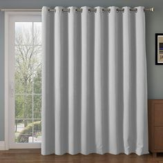 Wide Blackout Patio door Curtain Panel&Sliding door insulated curtains,Thermal&Extra Wide curtains,for curtain rod silver,Silver Grommet Top Blackout by Inches-Greyish White Patio Door Curtains, Bamboo Curtains, Curtain For Door Window, Outdoor Curtains, Grommet Curtains, Drapes Curtains, Blackout Curtains, Country Curtains, Velvet Curtains