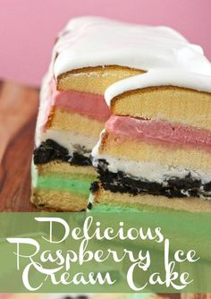 Delicious Raspberry Ice Cream Cake Recipe. The perfect combination of cake and ice cream for a sweet dessert. #icecream #desserts #recipe