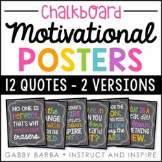 These posters are the perfect inspirational decor for your classroom! There are two different versions included which can be used alone or mixed. They measure approximately 8 x 10 inches.