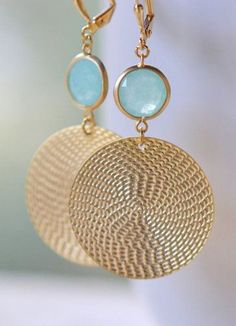 Gold Statement Earrings with Grayed Jade Jewels
