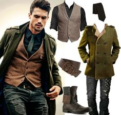 #Menswear #Casual #Look #Jacket #Boots #Gilet #style
