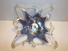 "Vintage MURANO Art Glass Free Form BOWL Ashtray PIN TRAY PURPLE Millefiore 11"""
