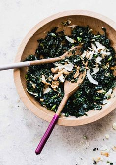 This Vegan Kale Salad is tossed with coconut flakes and salty cashews, and a dairy-free yogurt basil dressing. Lightly creamy and delicious! Healthy Salad Recipes, Whole Food Recipes, Vegetarian Recipes, Kale Salad, Soup And Salad, Fruit Salad, Dairy Free Yogurt, Vegan Yogurt, Massaged Kale
