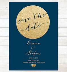 navy gold save the date invitation gold by pinkdahliaprintable
