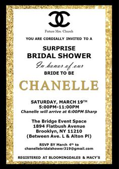 Chanel inspired bridal shower invitation pink black white chanel chanel themed bridal shower invitation filmwisefo