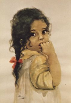 Unknown title Danuta Muszynska-Zamorska, Polish, b. Painting Of Girl, Painting & Drawing, Watercolor Paintings, Toddler Drawing, Toddler Art, Pretty Little Girls, Female Images, Art For Kids, Art Children