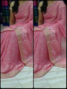 Buy Pure Chiffon Pink Saree Online: justforbuy.com
